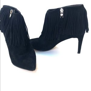 Sam Edelman Black suede ankle booties with tassels